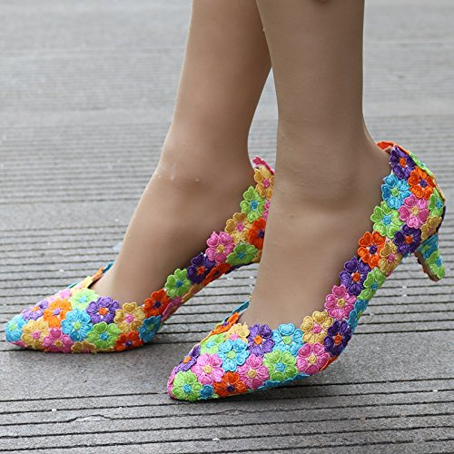 LEIT Thin Shoes Women's 5 Shoes cm colors Shoes Wedding Seven Lace Seven Pointed Color w0wq6