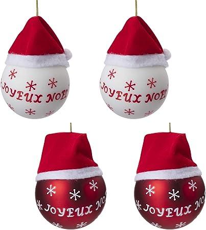 Wedestock Lot de 4 Boules déco Sapin Joyeux Noël Rouge et ...