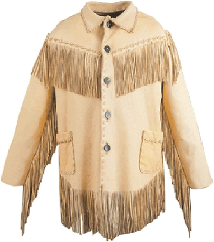 LEATHERAY Mens Fashion Western Cowboy Fringe Jacket Suede Leather Black