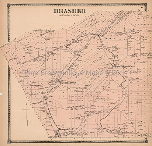 - Brasher New York Antique Map Beers 1865 Original Decor History Ancestry Gift Ideas