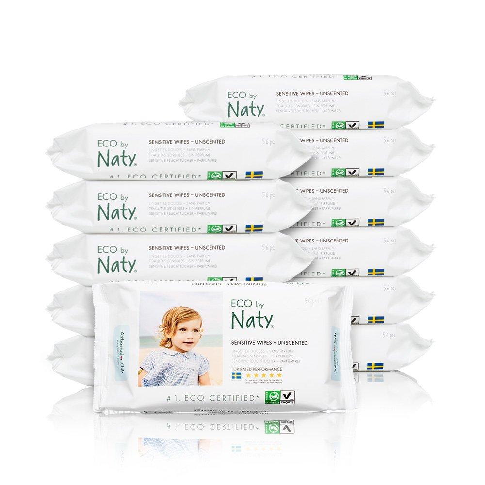 Naty By Nature Babycare - Sensitive Wipes - Toallitas húmedas ecológicas - 12 x 56 toallitas Naty AB 245012