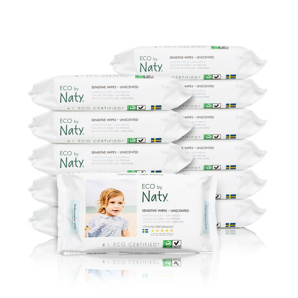ECO by Naty Baby Wipes, Unscented, 12 packs of 56 (672 Count)