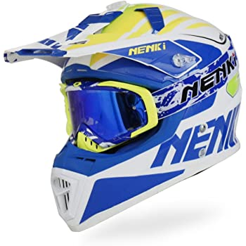 NENKI Motocross Offroad Dirtbike Helmet NK-316 Dot Approved Come with MX Goggle for Mens and Womens(XL, Blue White)