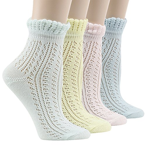 Lace Ruffle Anklet Socks, Socks Daze Womens Vintage Elegant Cotton Frilly Ankle Socks 4 ()