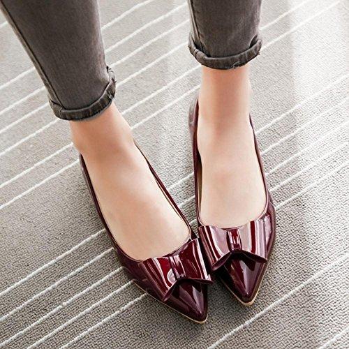 corte de mujer rojo 02 TAOFFEN cordones tacón para sin Zapatos aPwZAnn