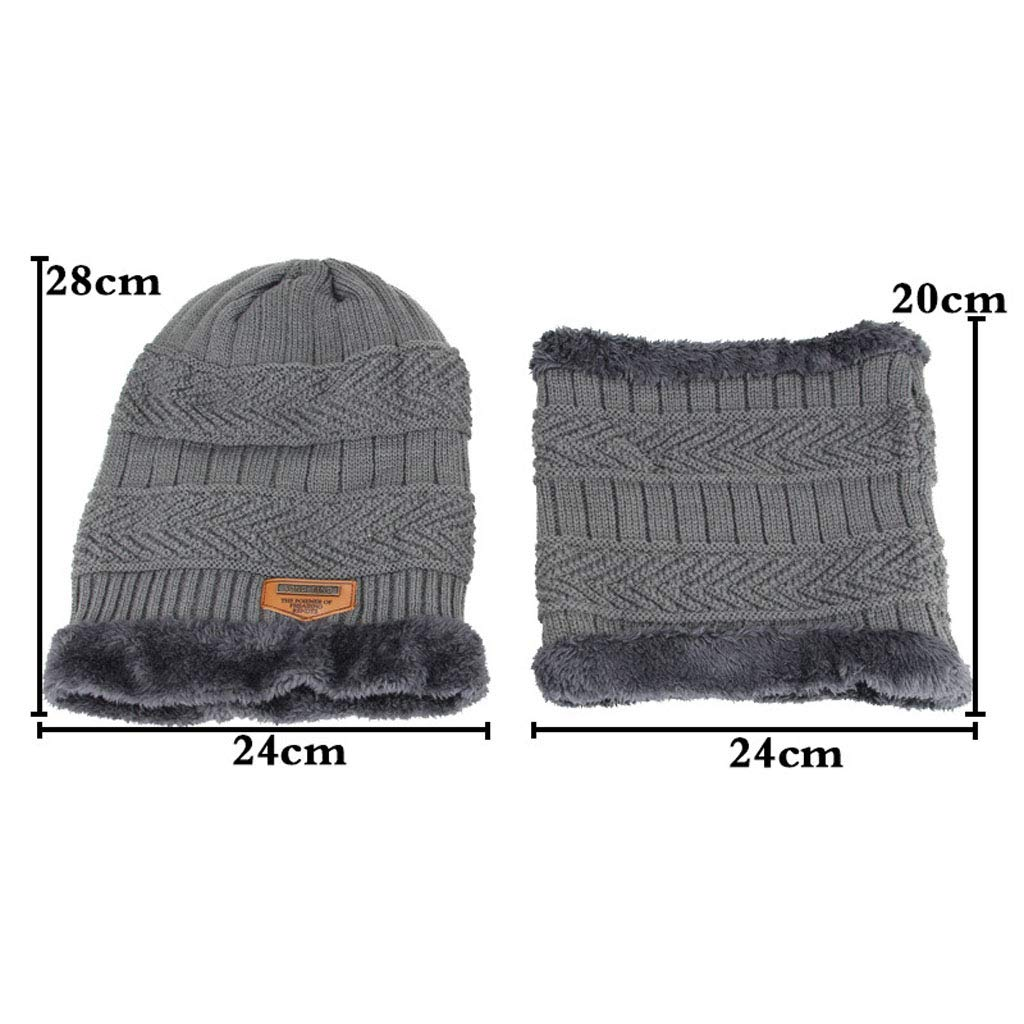 WEN-hat Gorros de Invierno para Hombres Calentador Calentador Calentador de Cuello Tejido Sombrero Juegos de Bufanda Tejido Sombrero Moda a Prueba de Viento (Color : Gris Claro) 0e18dc