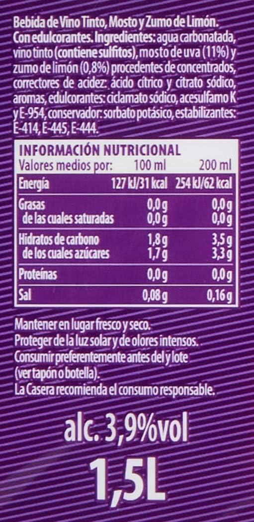 La Casera Bebida Refrescante Tinto de Verano Limón, 1.5L