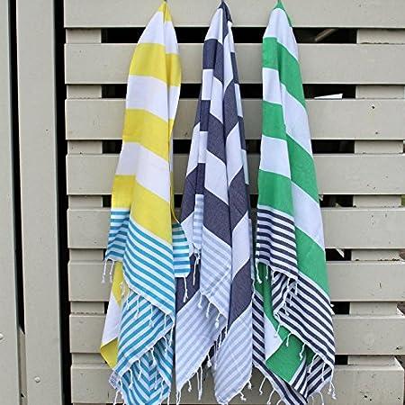 aciugamano mare asciugamano bagno ANATURES MARINA Beige // Blu Telo hammam Fouta uso diretto Pestemal Hammam towel 100/% cotone Turkish towel prelavato