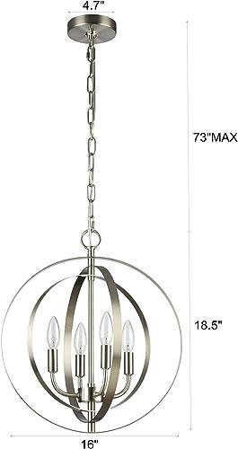 MICSIU Globe Chandelier 4-Light Metal Industrial Spherical Pendant Light Fixture Modern Hanging Lighting Brushed Nickel Finish