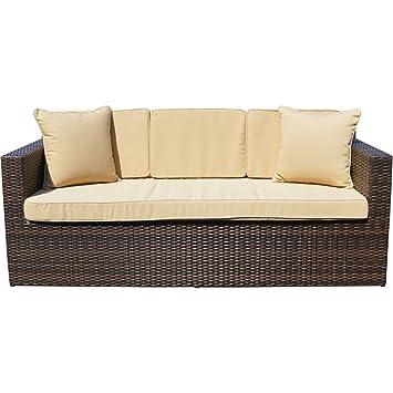 richmond outdoor rattan sofa 3 seater weatherproof brown amazon co