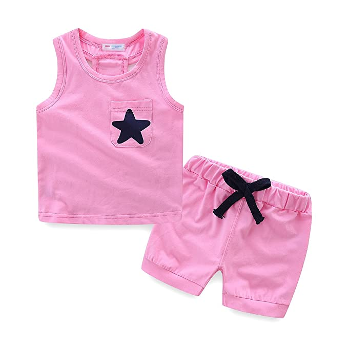 786d70d2 Mud Kingdom Little Girls Summer Clothes Sets Cute Tank Tops Shorts Outfits  Star 3T Pink