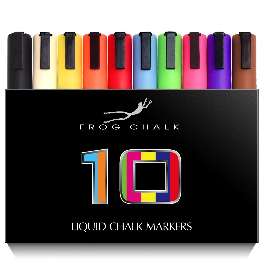 Chalk Markers - Premium Quality - 6mm Reversible Tip Pens - Vibrant Colors! (2 Packs of 10)