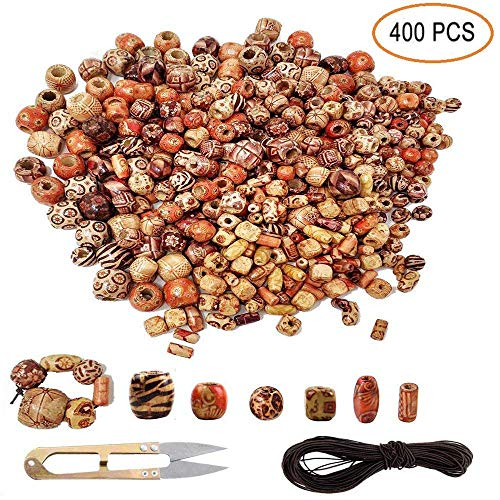 400pcs Various Shaped Painted Wooden Beads Loose Spacer Beads (Round, Oval, Cubes, Tubular )for DIY Handmade Rosary Bracelet Necklace Hair and Craft Jewelry Making Accessories Supplies Assorted