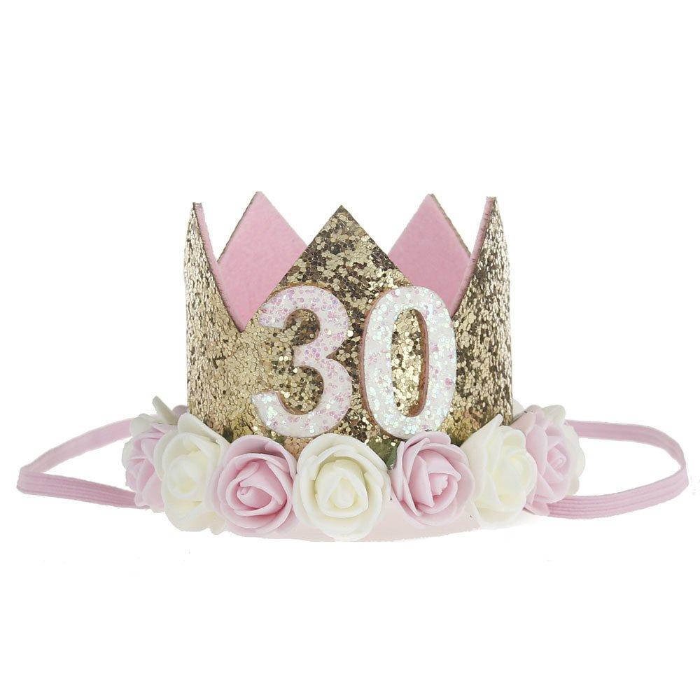 Merroyal 21st 30th Rose Flower Golden Crown Birthday Headband Hair Accessories