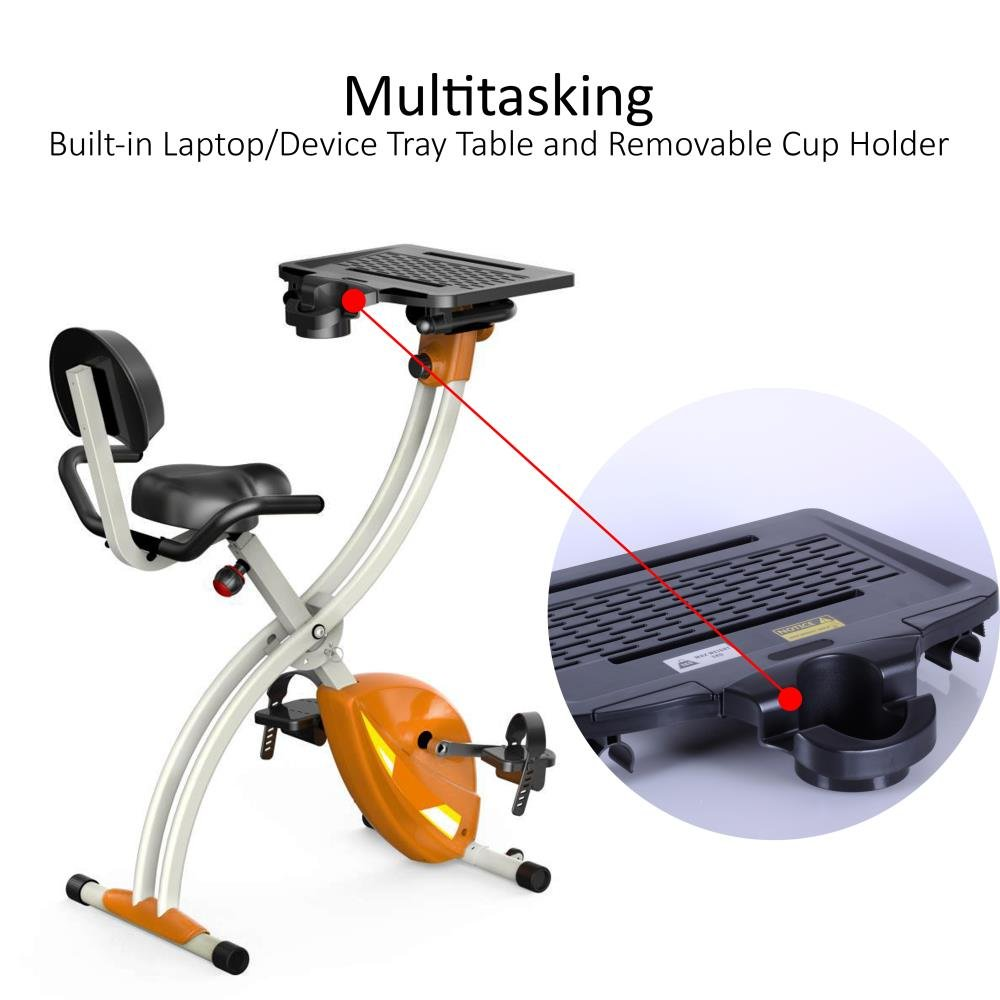 27b13d2f47f Amazon.com   SereneLife Exercise Bike - Upright Stationary Foldable Bicycle  Pedal Trainer Fitness Machine Equipment w  Laptop Tray for Workout