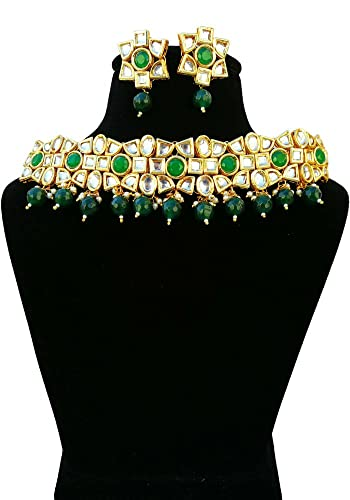 71edf683e9602 Buy Finekraft Meena Kundan Gold Plated Guluband Style Necklace ...