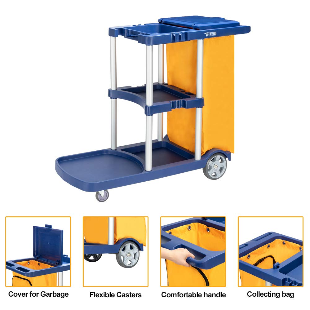 TUFFIOM Commercial Traditional Cleaning Janitorial 3-Shelf Cart, 500 Lbs Capacity Housekeeping Cart,42.5''L x 18.7''W x 37.6''H ,Wheeled with 22 Gallon Zippered Yellow Vinyl Bag and Cover, Blue by TUFFIOM