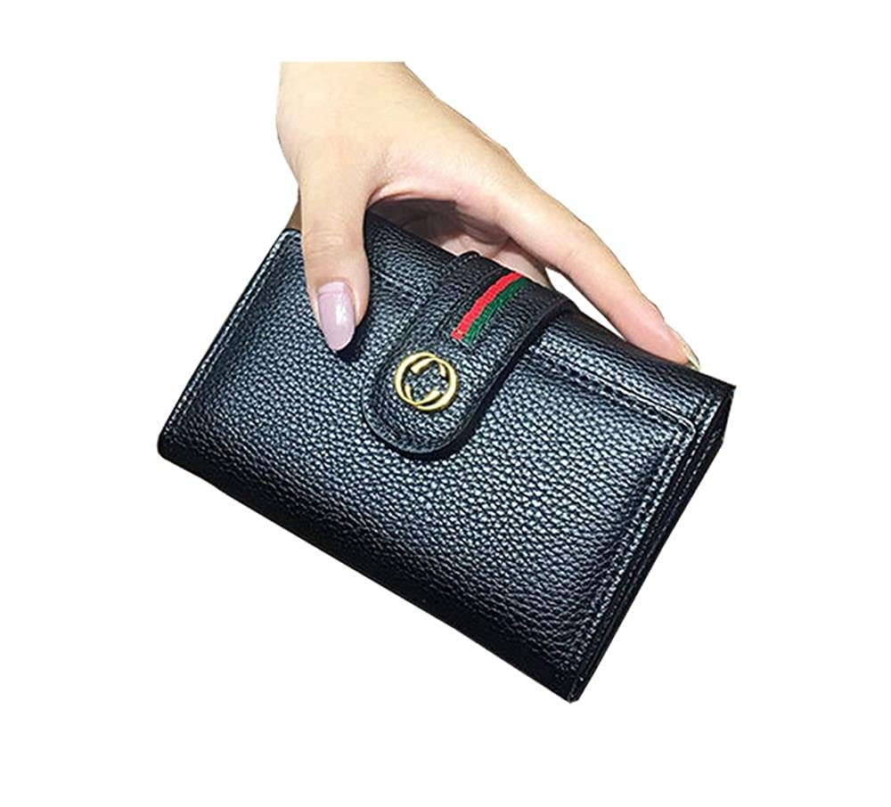 Black Women's Large Capacity Luxury Wax Genuine Leather Wallet with Pocket