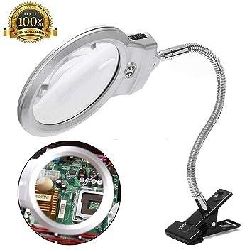 2.5x/5x LED Iluminador Lupa Metal Manguera Lupa Mesa de Lectura ...