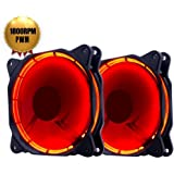 EASYDIY PWM 120 mm Red LED Silent Fan for Computer Cases, CPU Coolers, and Radiators Ultra Quiet High Airflow Computer Case Fan - Twin Pack