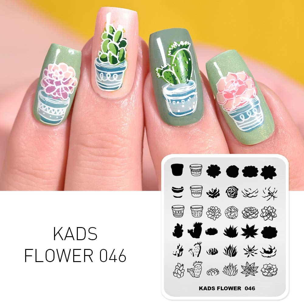 KADS New Nail Stamping Plate Flower Nature Nail Art Stamp Template DIY Image Template Manicure Stamping Plate Stencil Tools (FL046)