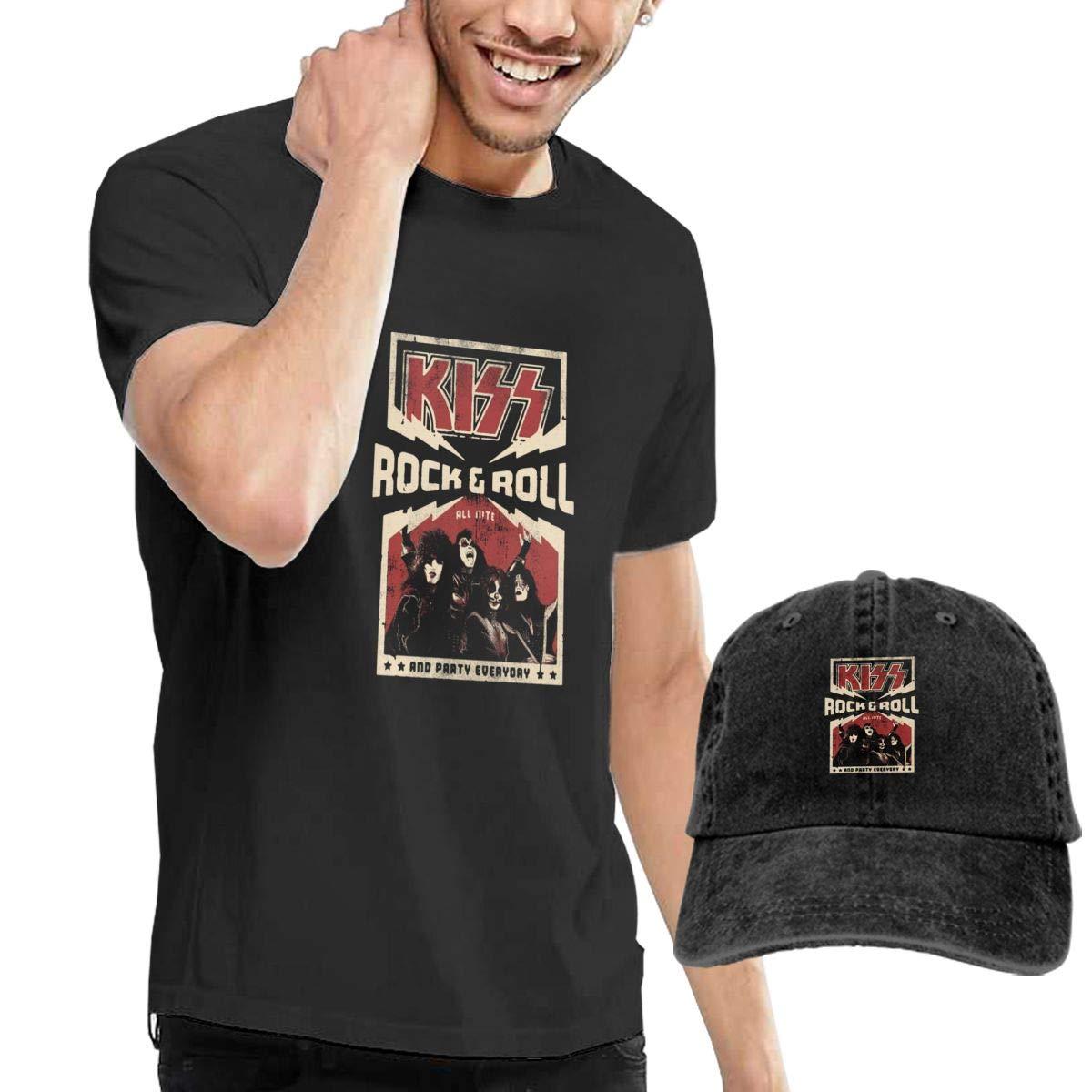 Beadwork-kiss-Band Mens Classic T-Shirt with Washed Denim Baseball Hat Black
