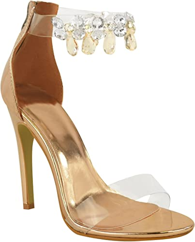 New Womens Ladies High Heel Jewel Stiletto Lace Sandals Court Shoes UK Sizes 3-8