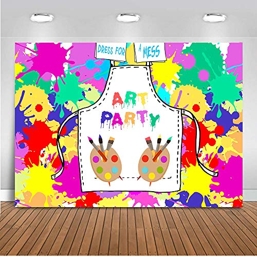 COMOPHOTO Art Paint Party Backdrops Artist Birthday Backdrop Dress for a Mess Art Party Painting Splatter Photo Background Graffiti Wall Photography Backdrop Rainbow Brush 7x5ft ()