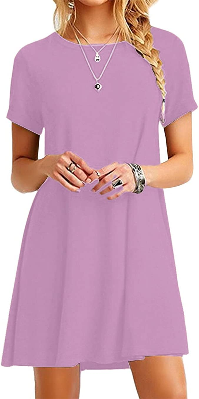 EFOFEI - Mini vestido de verano para mujer, estilo casual, estilo casual, para verano, elegante, cuello redondo, manga corta, varios colores