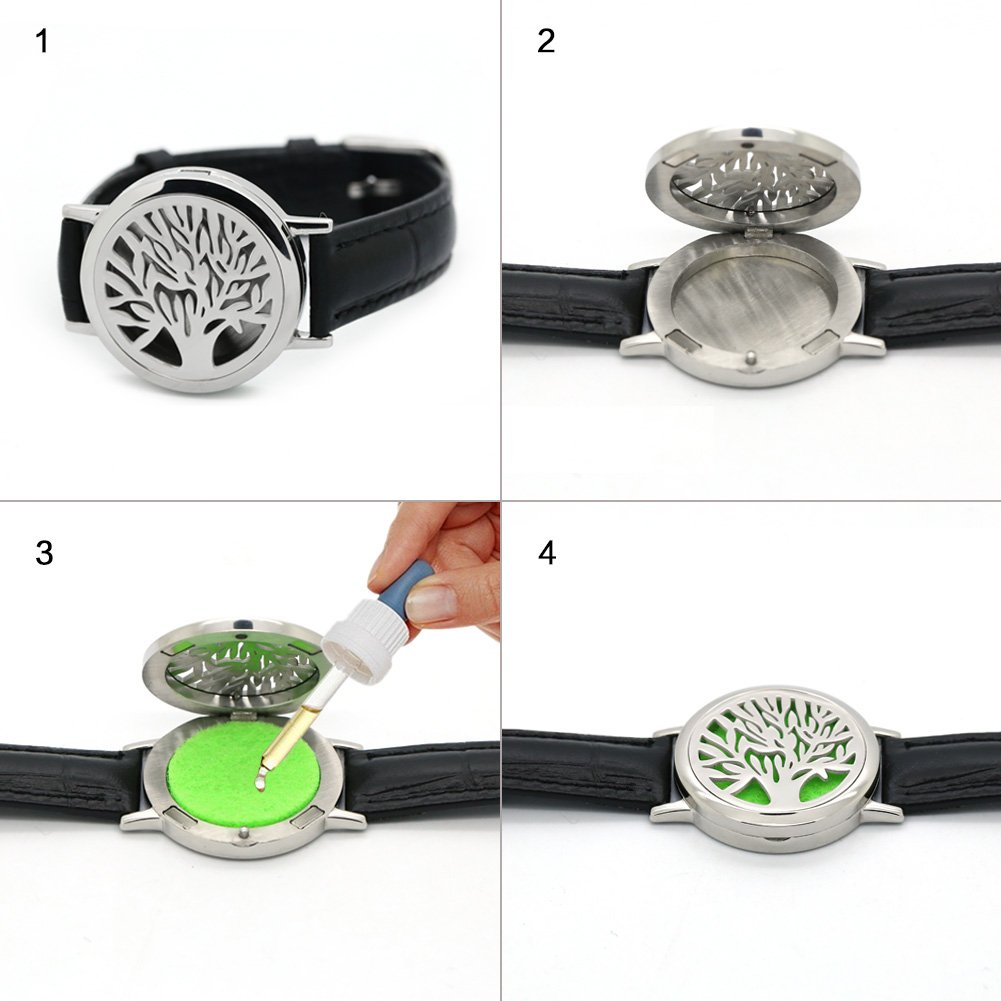 Essential Oil Diffuser Bracelet 316L Stainless Steel Aromatherapy Locket Bracelet Leather Band,Men Women Bracelet Gift Set with 18pcs Refill Pads Essential Oil Diffuser Leather Wrap Bracelet Set Aroma House