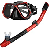 Enkeeo Scuba Diving Snorkeling Snorkel Set Anti Fog Goggles/ Swimming Cap/ Waterproof Phone Case/ Gear Bag