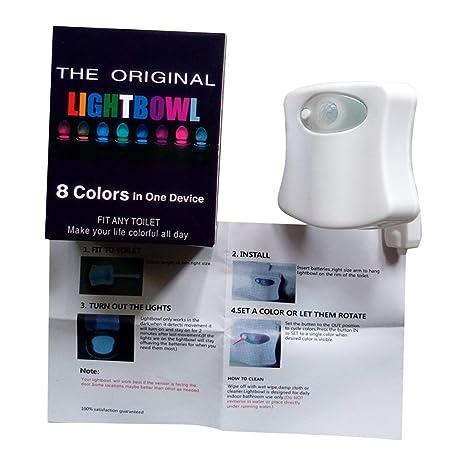 Sensor de movimiento inteligente activado luz de la noche del inodoro LED luz de emergencia 8