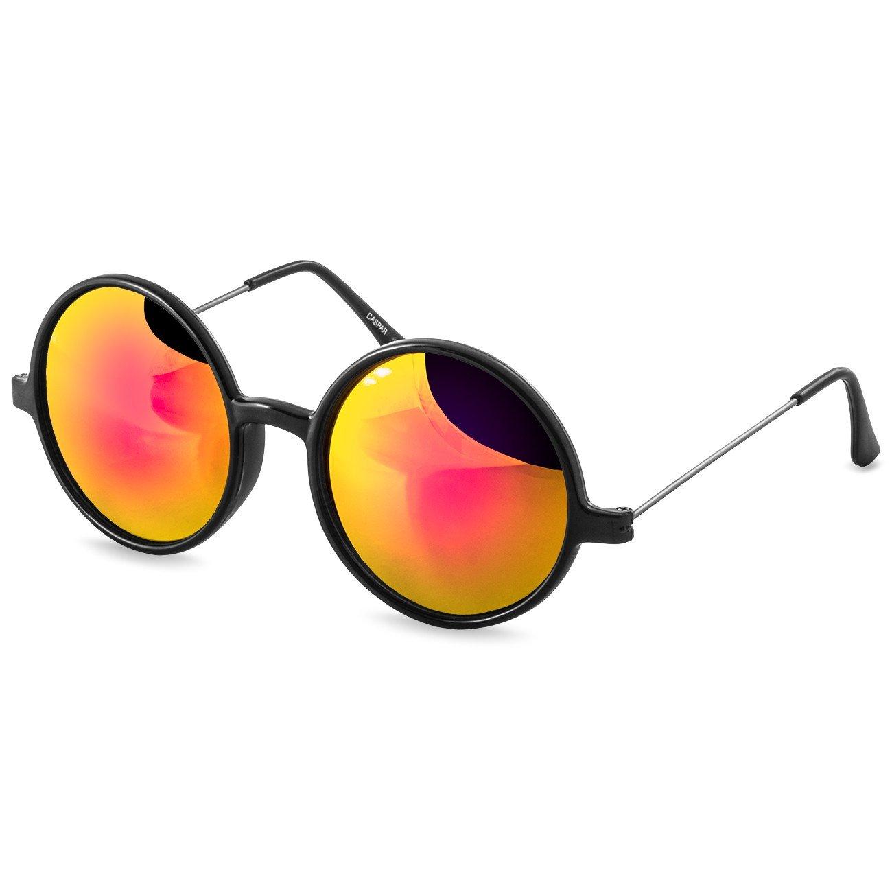 CASPAR Unisex Retro Sonnenbrille / Brille / Nickelbrille mit runden Gläsern bunt verspiegelt - viele Farben - SG021, Farbe:schwarz / silber verspiegelt