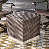 Contemporary Design All Weather Wicker Cube Outdoor Coffee Table Comes in Dark Brown Finish