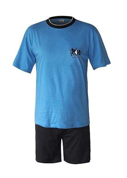 Moonline nightwear - Pijama - para hombre oberteil blau mit Motivdruck/hose schwarz