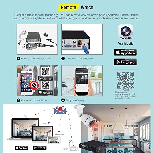Tonton 8CH Full HD 1080P Security Camera System,5-in-1 Surveillance DVR and 8PCS 2MP Waterproof Outdoor Indoor Bullet and Dome Cameras,Free APP Remote Viewing NO HDD Included