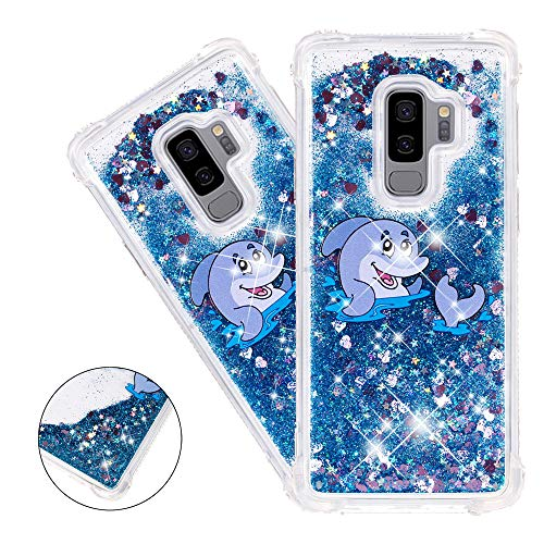 HMTECHUS S9 Plus case for Girls Painted Glitter Liquid Sparkle Floating Luxury Quicksand Shockproof?Protective Diamond Silicone Slim Cover for Samsung Galaxy S9+ / S9 Plus -Bilng Blue Dolphin ()