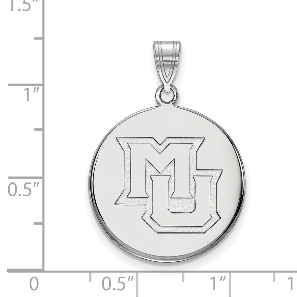 21mm x 30mm Solid 925 Sterling Silver Marquette University Large Disc Pendant