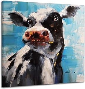 Woxfcart Cute Cow Wall Decor - Cow Print Canvas Wall Art Decor Bathroom Bedroom,Farmhouse Wall Decor - Blue Picture Home Wall Décor