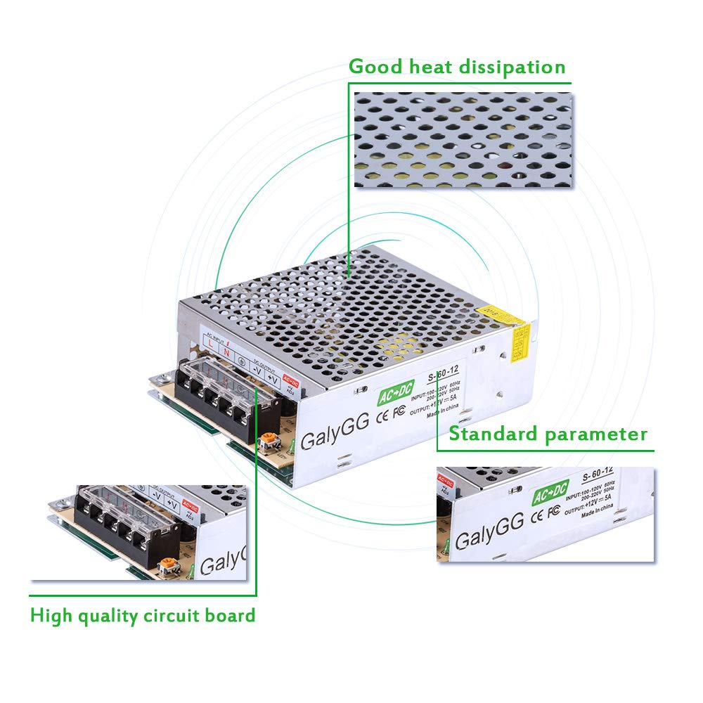 Galygg Ac 110v 220v To Dc Converter 12v 5a 60w Universal Regulated Powered Led Circuit 120w Flood Lights Enkonn Technology Co Ltd Switching Power Supply Transformer For Strip Cctv Radio Computer Project