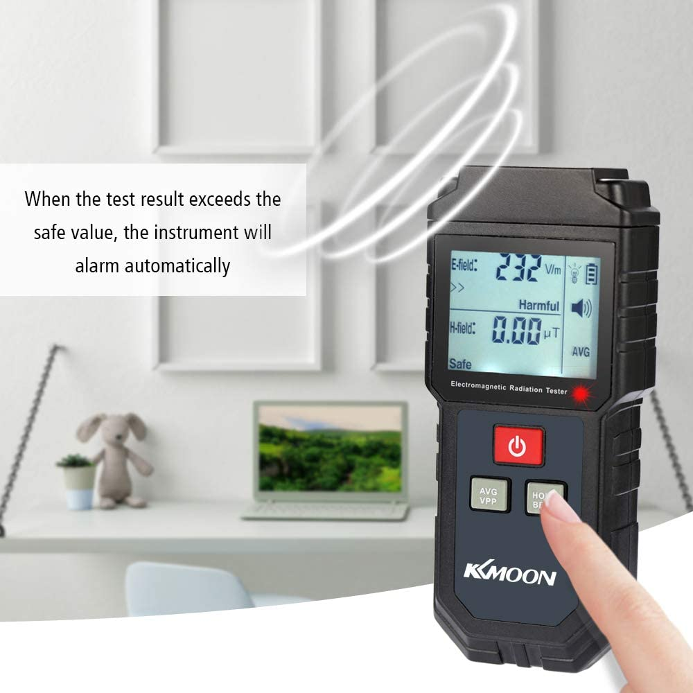 Electric Field Magnetic Field Dosimeter Detector with Sound and Light Alarm Roeam Digital Electromagnetic Radiation Tester