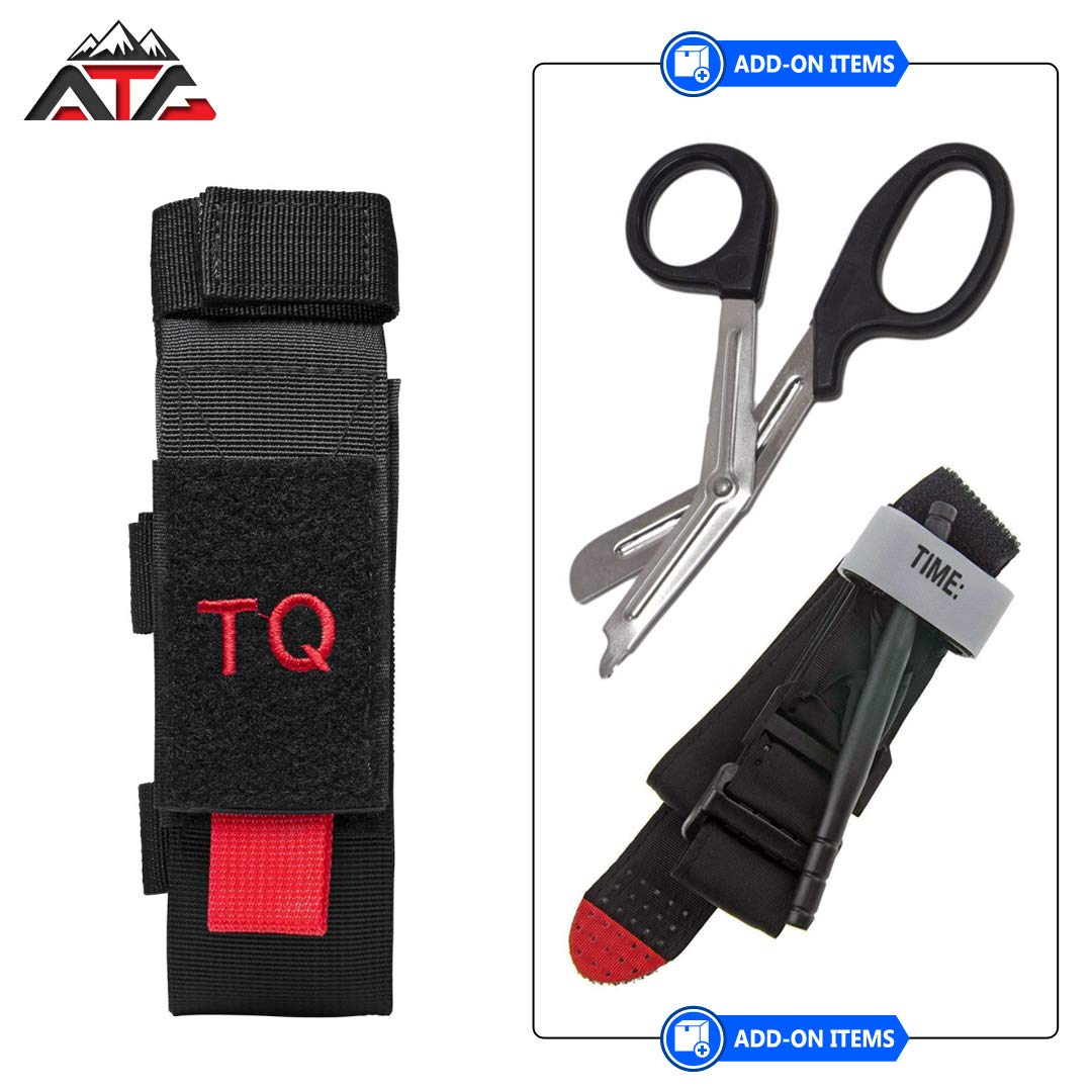 Tactical Tourniquet & Trauma Medical Shear Pouch MOLLE PALS Duty Belt Loop EMT EMS + ATG PVC Rubber Patch (Pouch Only, Black) by ATG