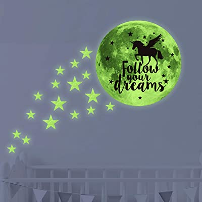 Follow Your Dreams Glow in Dark Stars & Moon Ceiling Wall Decals,Kid/Child/Baby Inspirational Room Decor and Party Birthday Gift: Kitchen & Dining