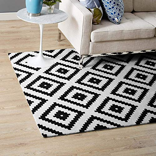 Modway Alika Abstract Diamond Trellis 8x10 Area Rug With Contemporary Design In Black and White