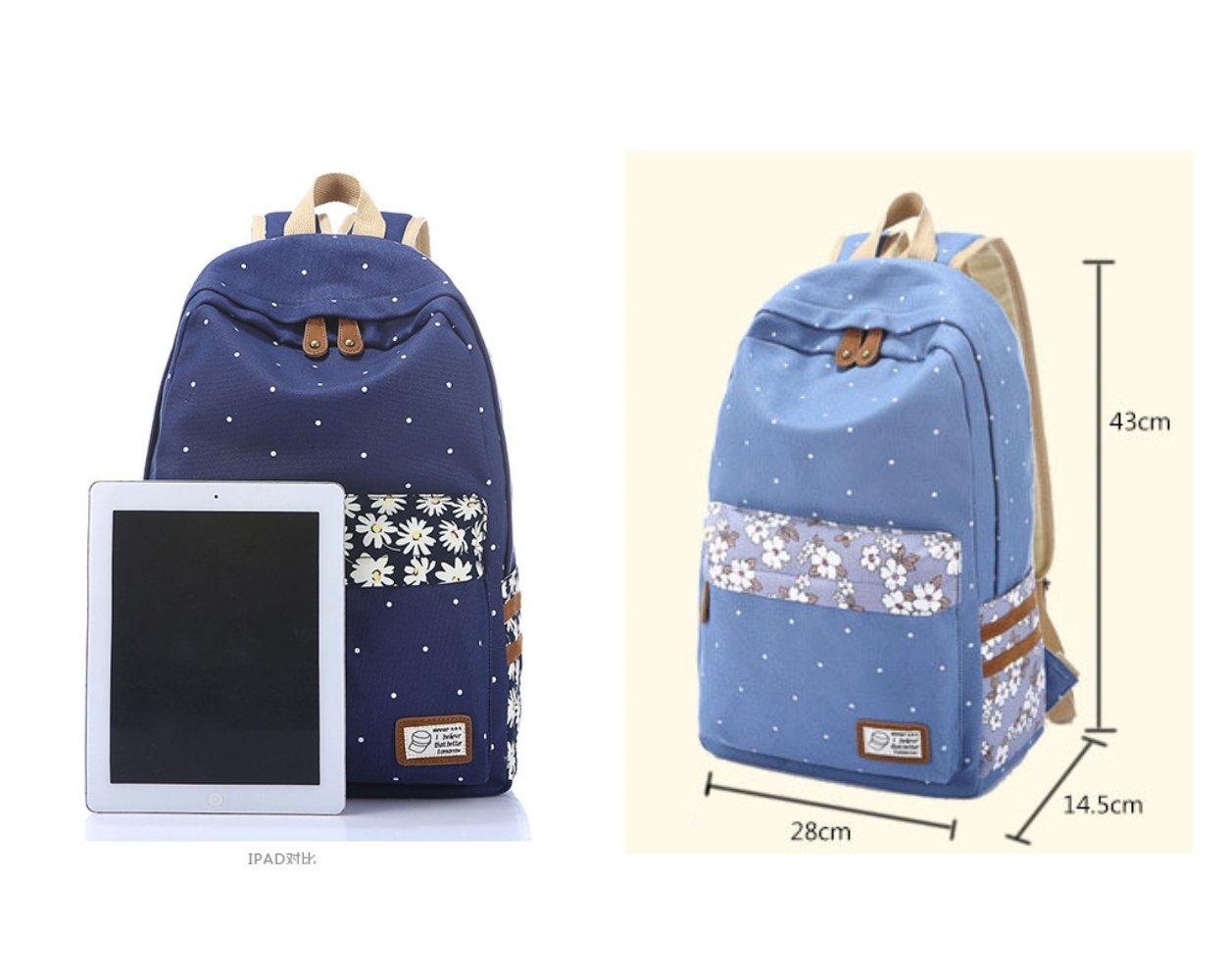 Evay zaino tela Vintage striscia colorata sacchetto di scuola per i giovani adolescenti ragazze e ragazzi leggero Carino impermeabile Daypack casual