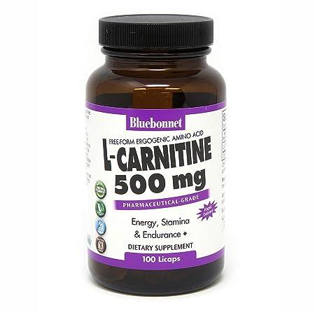 Bluebonnet L-Carnitine 500 mg Liquid Capsules, 100 Count