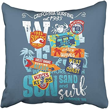 Amazon com: I DO Throw Pillow Covers Kids Surfing Team West
