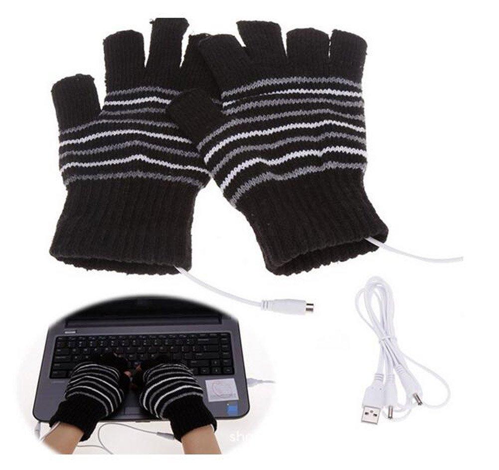 Stripe Design Knitted Winter Warm Fingerless Hand Warmer USB 2.0 Heated Gloves Laptop Mittens for Women Teen Girls Christmas Gift