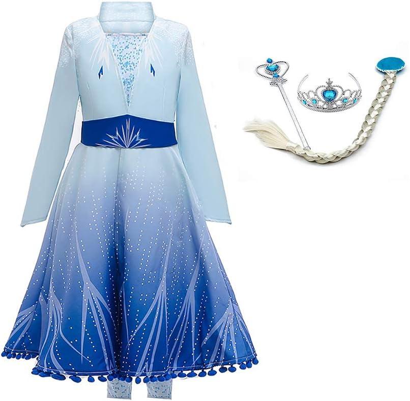 OwlFay Disfraz de Princesa Elsa Vestido Reino de Hielo Vestidos de Carnaval Fiesta Halloween Cosplay Navidad Costume 8-9 Años
