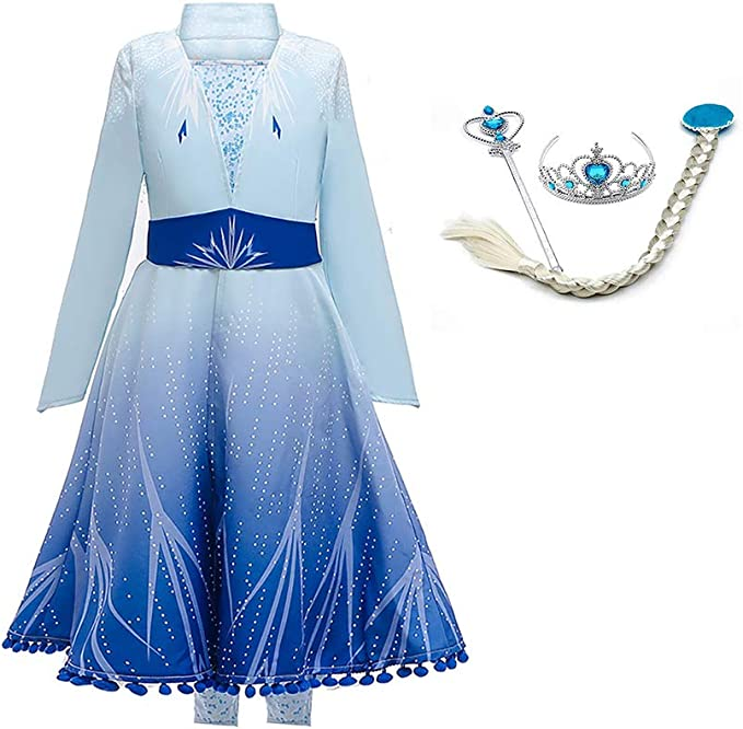 OBEEII Anna Frozen Costume Princess Elsa Snow Queen Dress Fancy Embroidery Dress Up for Girls Cosplay Show Christmas Carnival Birthday Party Easter Childrens Day Gift 2-10 Years